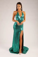 Emerald green sleeveless sequin formal gown with front slit, open back and long train