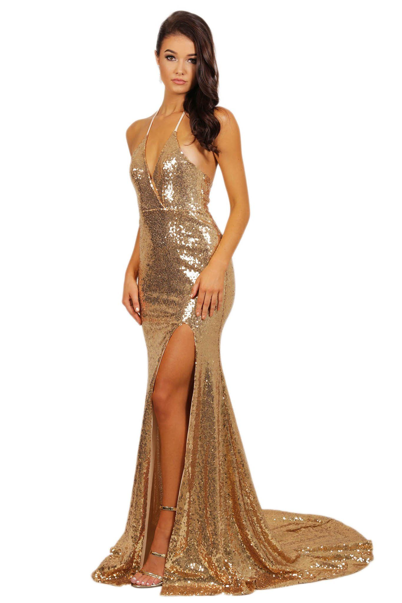 Estellina Front Slit Sequin Gown - Gold – Noodz Boutique