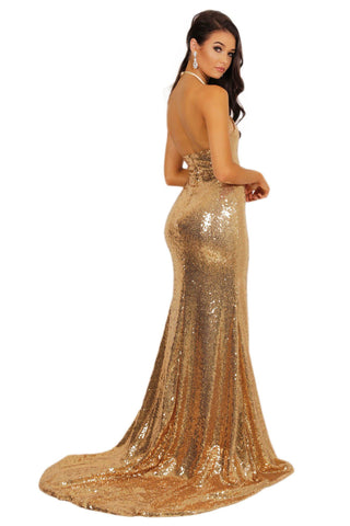 Estellina Front Slit Sequin Gown - Gold