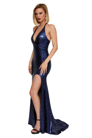 Estellina Front Slit Sequin Gown - Navy
