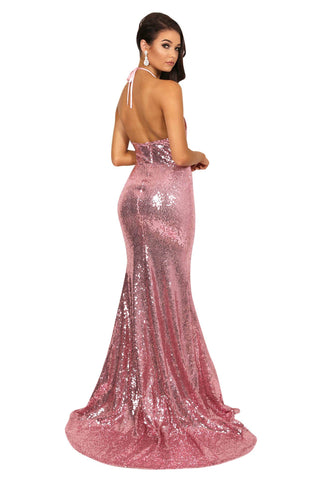 Estellina Front Slit Sequin Gown - Pink Orchid