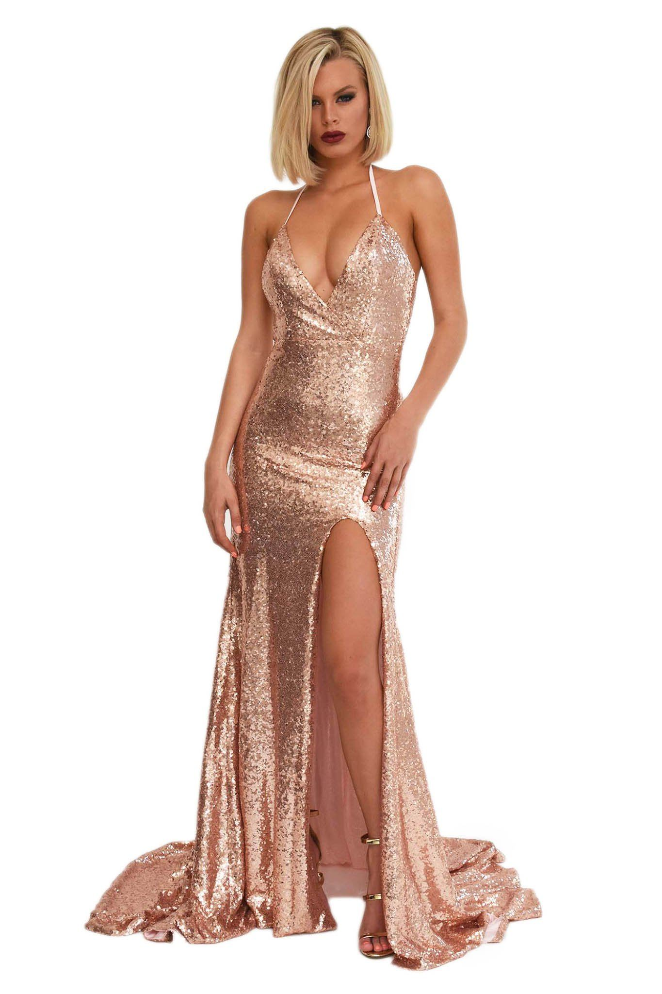 13944e52c873 Front shot of rose gold sequin evening formal prom gown with high front leg  slit,
