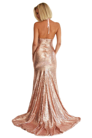Estellina Front Slit Sequin Gown - Rose Gold