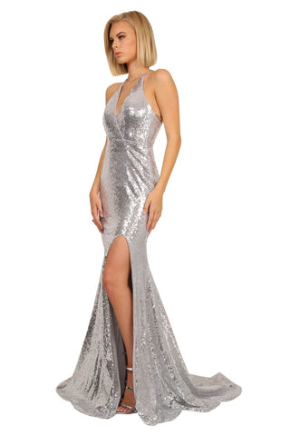 Estellina Front Slit Sequin Gown - Silver