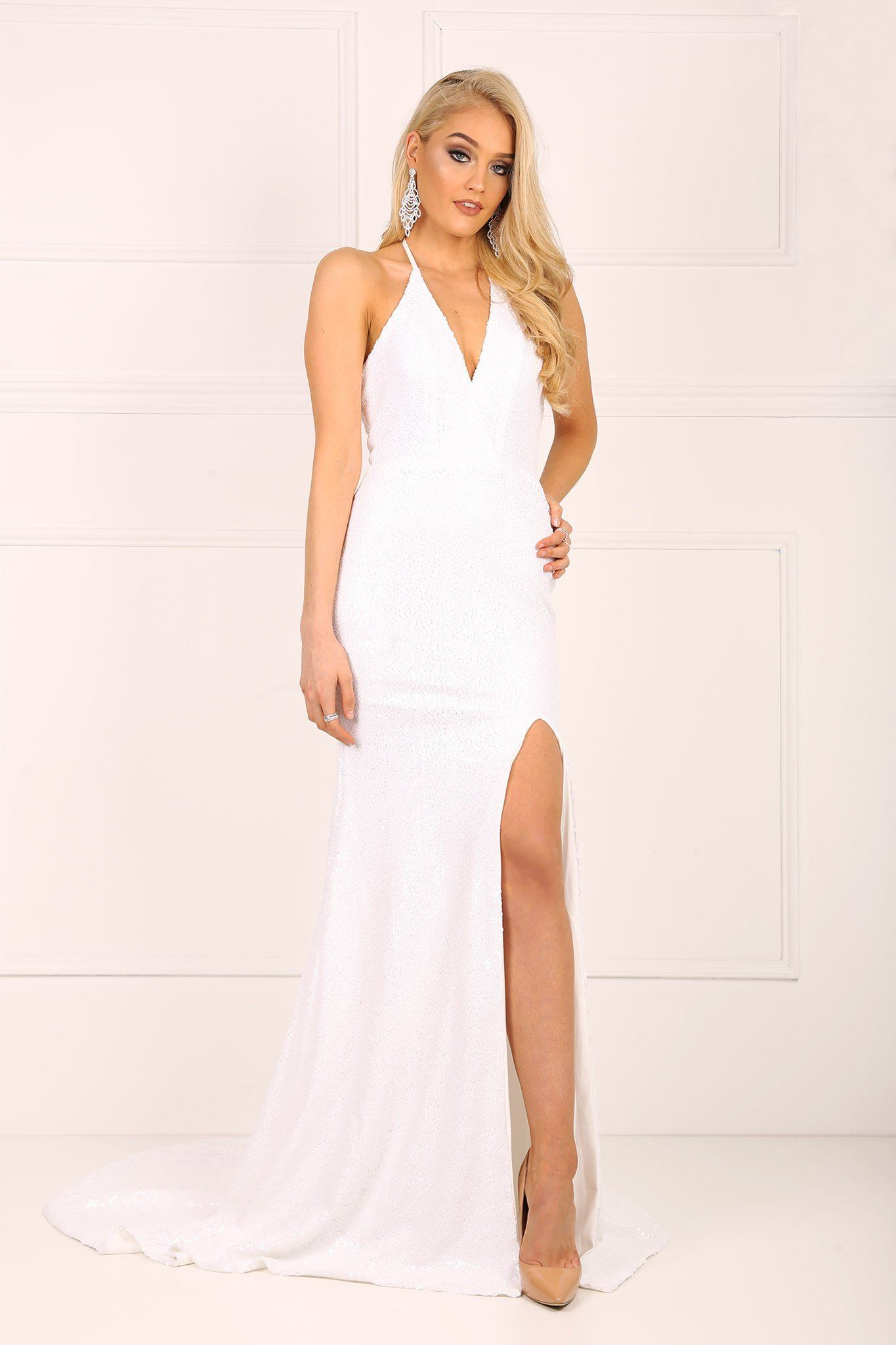 White sleeveless sequin long floor length gown with front slit and thin halter neck tie up strings and low back design