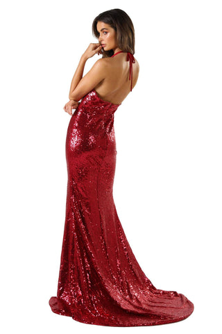 Estellina Front Slit Sequin Gown - Wine