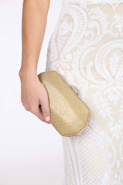 Esther Diamante Box Clutch Bag - Gold