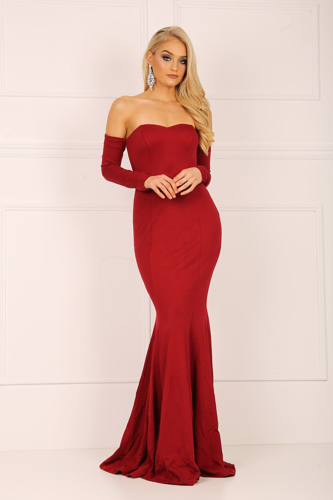 Wine red long sleeve off the shoulder form fitted mermaid gown