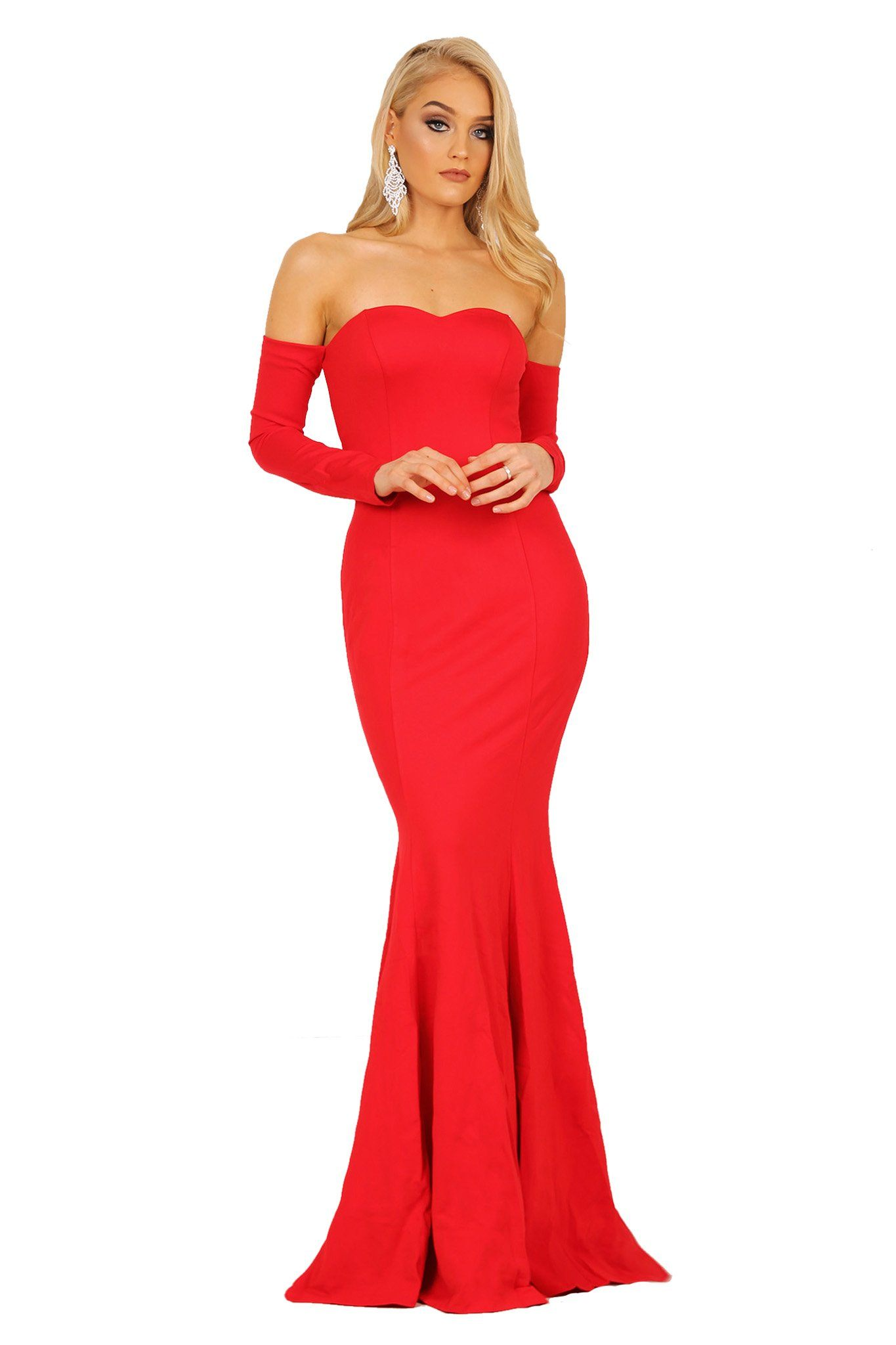 Red long sleeve fitted floor-length evening gown features off-the-shoulder design, sweetheart neckline and mermaid silhouette