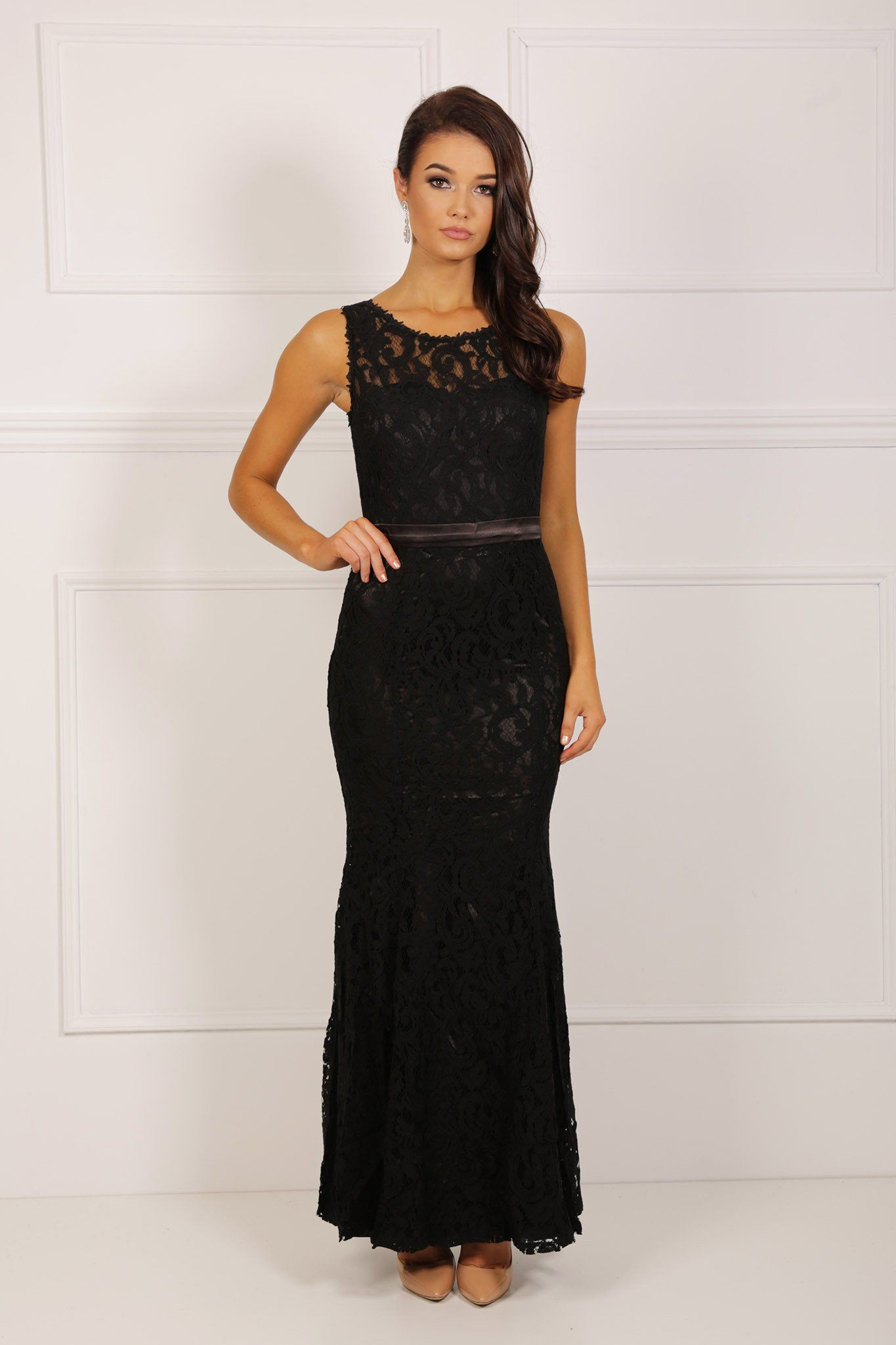 Black sleeveless lace maxi dress scoop neck with black satin belt and black satin underlining