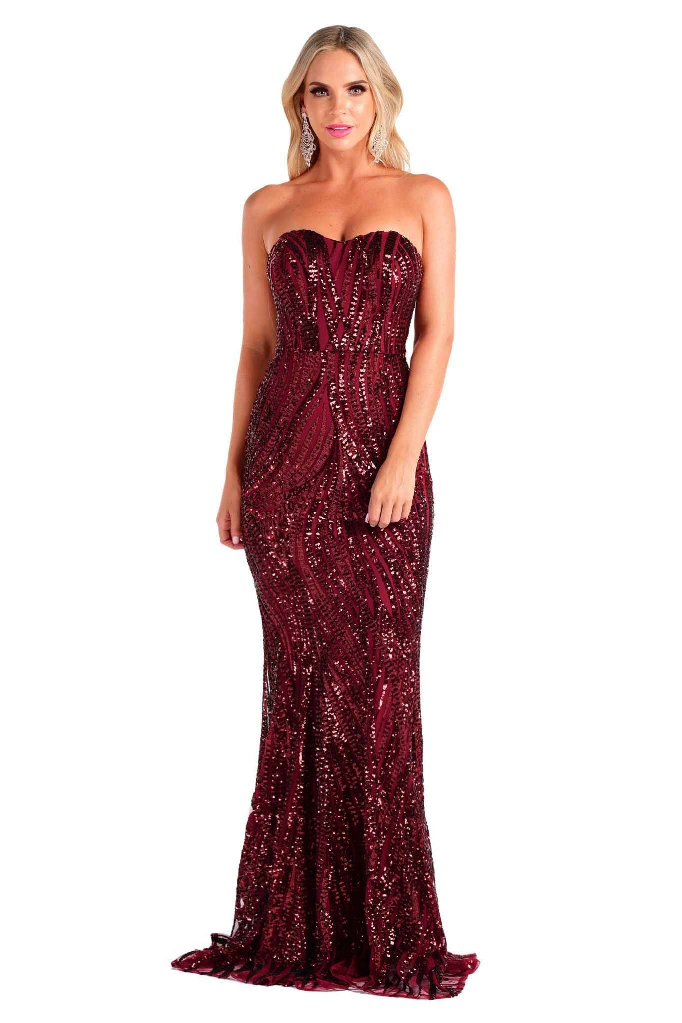 Burgundy deep red sleeveless fitted formal evening gown featuring strapless sweetheart neckline and flared floor-length skirt