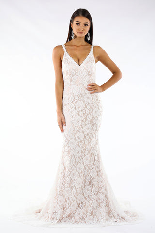Fiona Lace Gown - White/Beige
