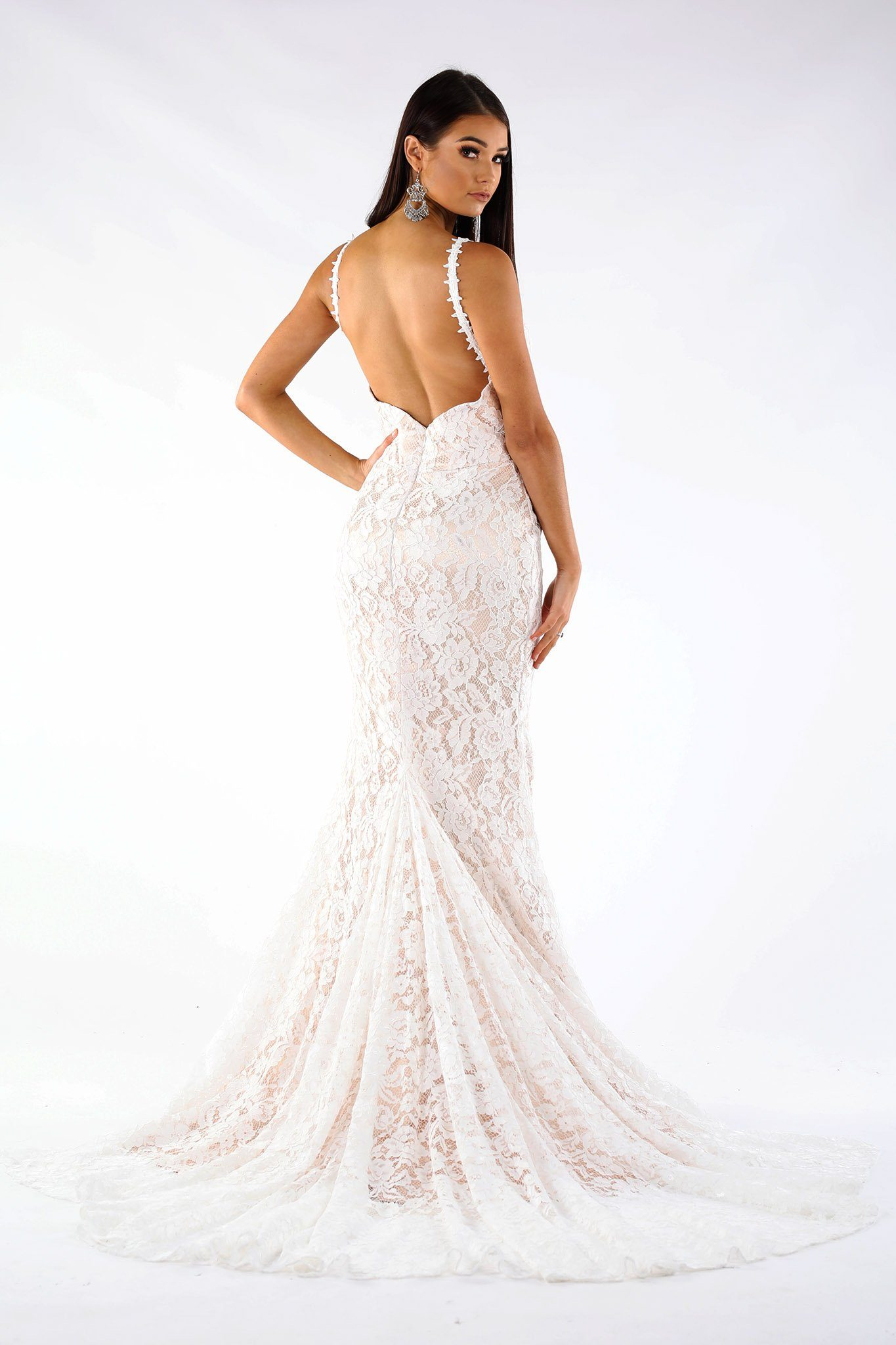 Fiona Lace Gown WhiteBeige