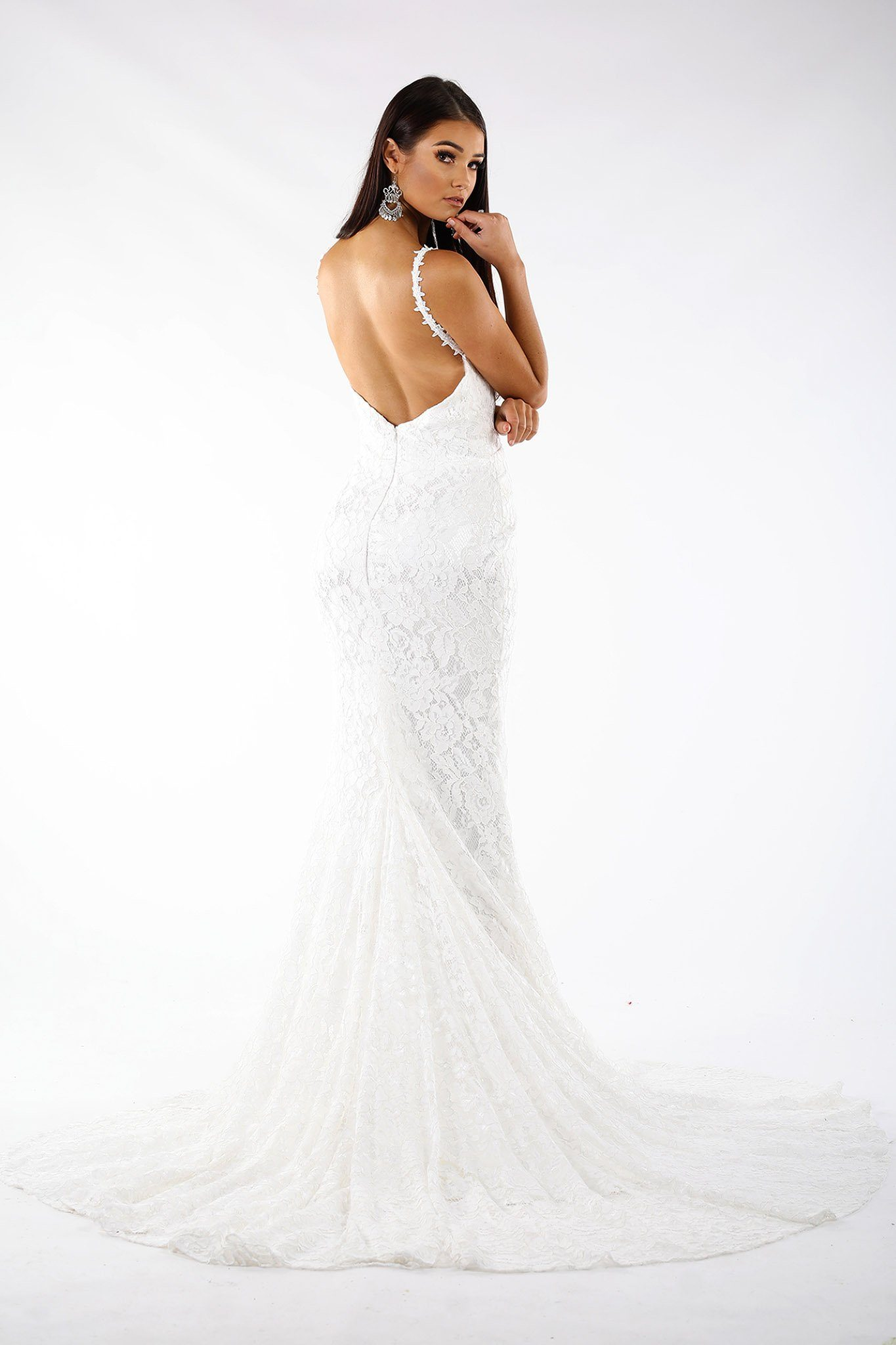 White sleeveless lace fitted maxi formal wedding dress V neck, lace trim shoulder straps, V backless, long train