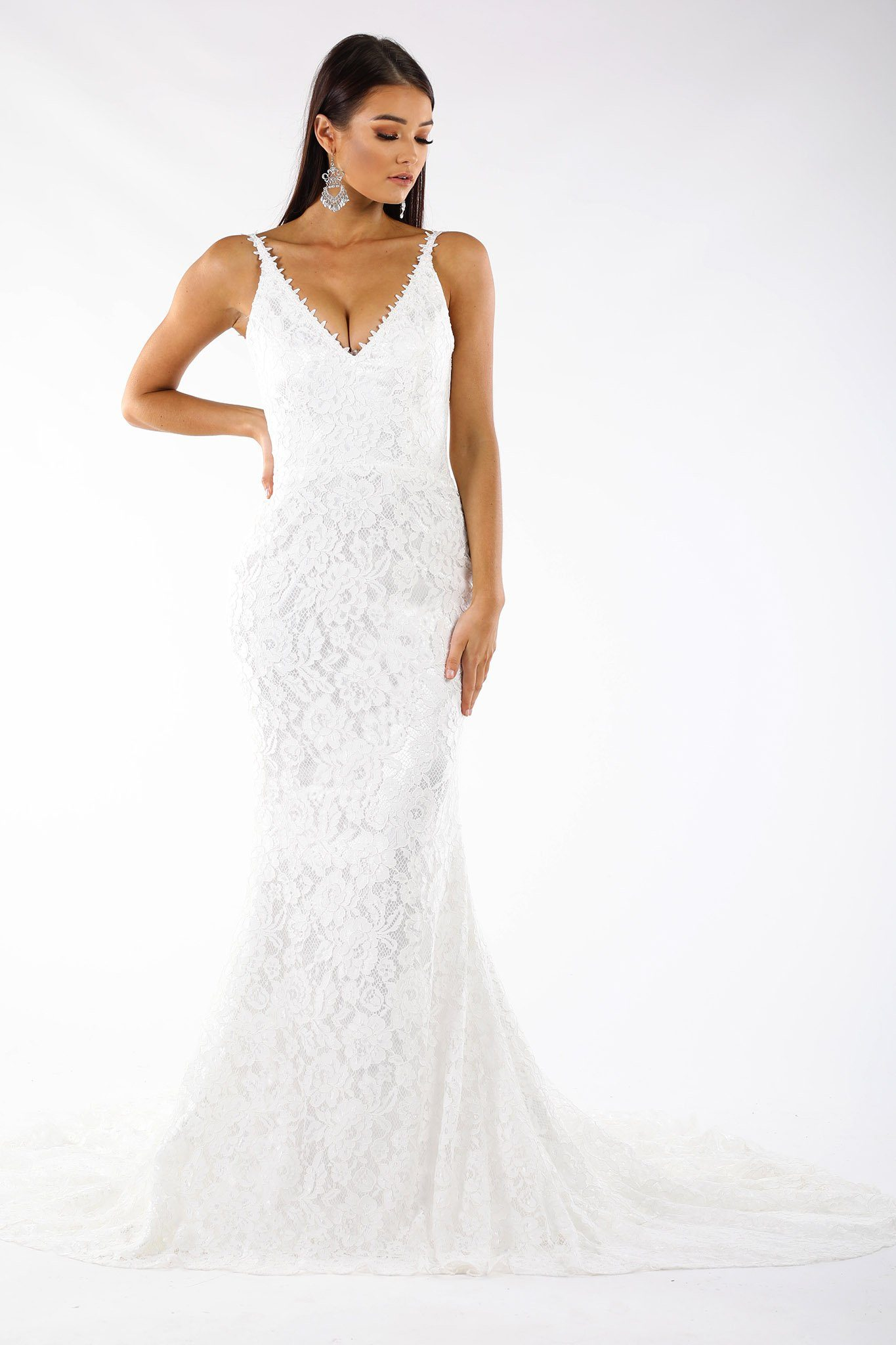 Formal Wedding Dresses.Fiona Lace Gown White White