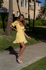 Yellow Floral Mini Summer Dress with Milkmaid Neckline, Puff Sleeves, Tie Details at the Back and Frilled Hemlines