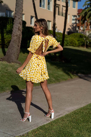 Feels Like Summer Mini Dress - Yellow Floral
