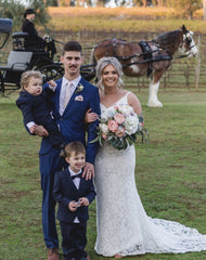 Noodz Boutique customer Tayla wears Fiona Lace Gown on her wedding day