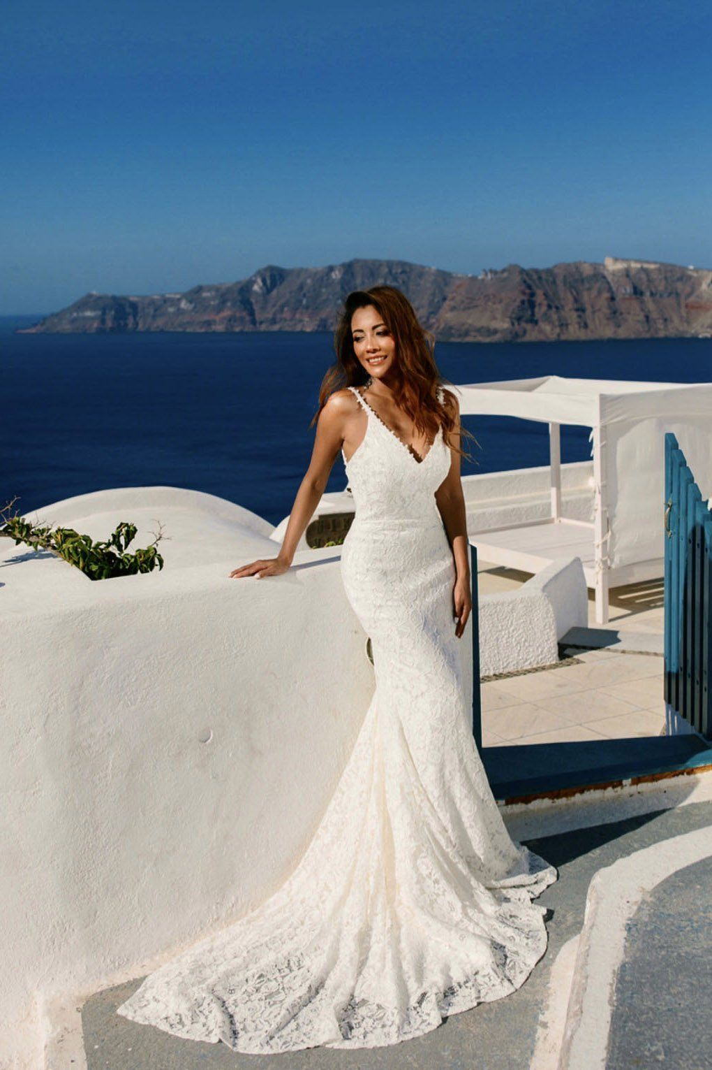 White Sleeveless Lace Fitted Floor Length Wedding Dress with V Neckline, Lace Trims on Thin Shoulder Straps, V Backless, Long train