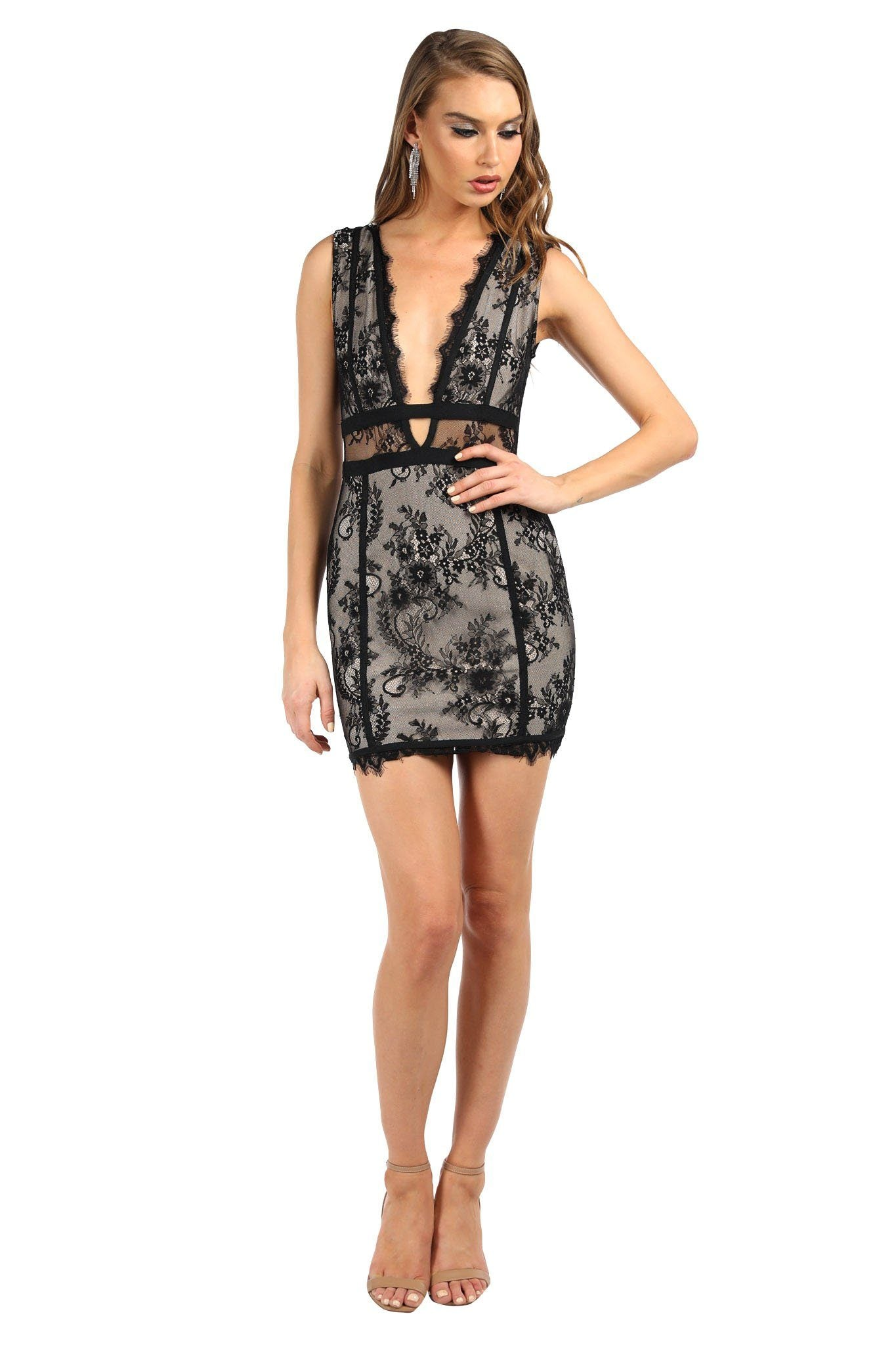 Flora Lace Mini Dress - Black