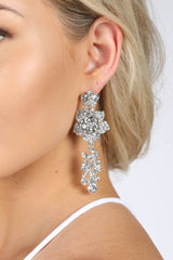Bridal Floral Drop Earrings in Silver with Clear Stones