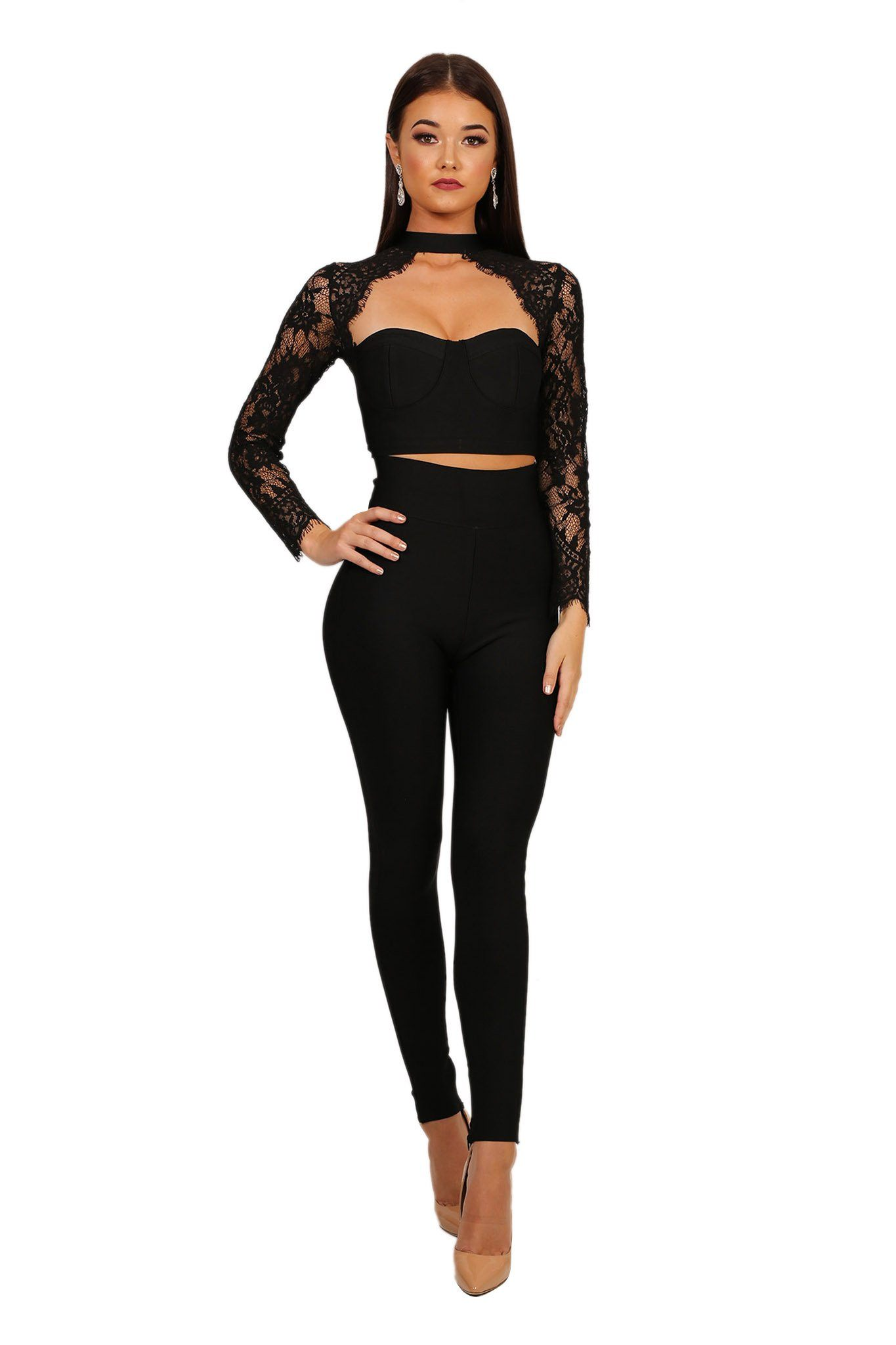 Front of black bandage pants set including sheer lace long sleeve bandage crop top and bandage legging pants