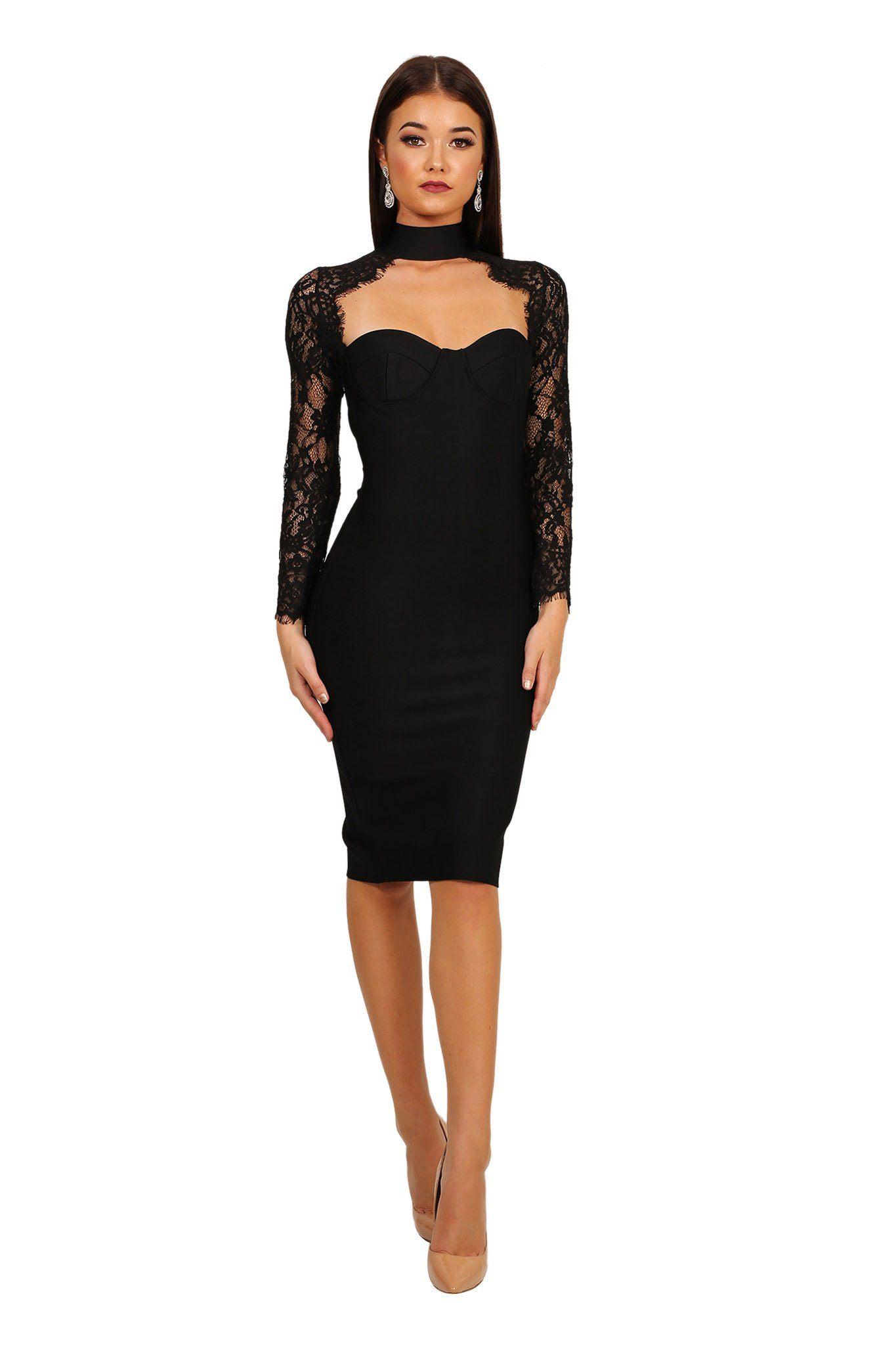 e59b6b50a92c Front image of lace long-sleeve midi-length bandage dress with sweetheart  choker neckline
