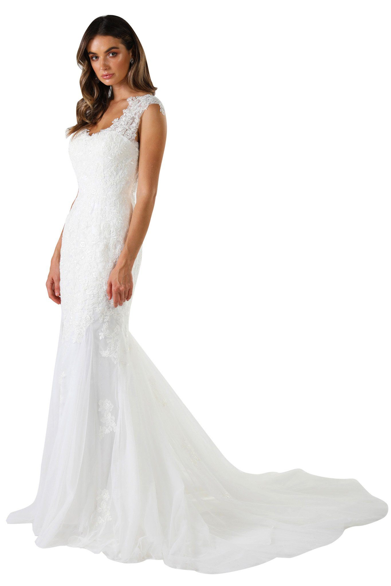 White sleeveless wedding dress with embroidered floral lace details throughout, fitted bodice, open back, long train