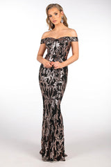 Gold Embroidered Sequin Floor Length Evening Gown with Black Underlay, Off-The-Shoulder with Subtle Sweetheart Neckline, Fitted Bodice Through to the Knee and a Gently Flared Floor-Length Skirt