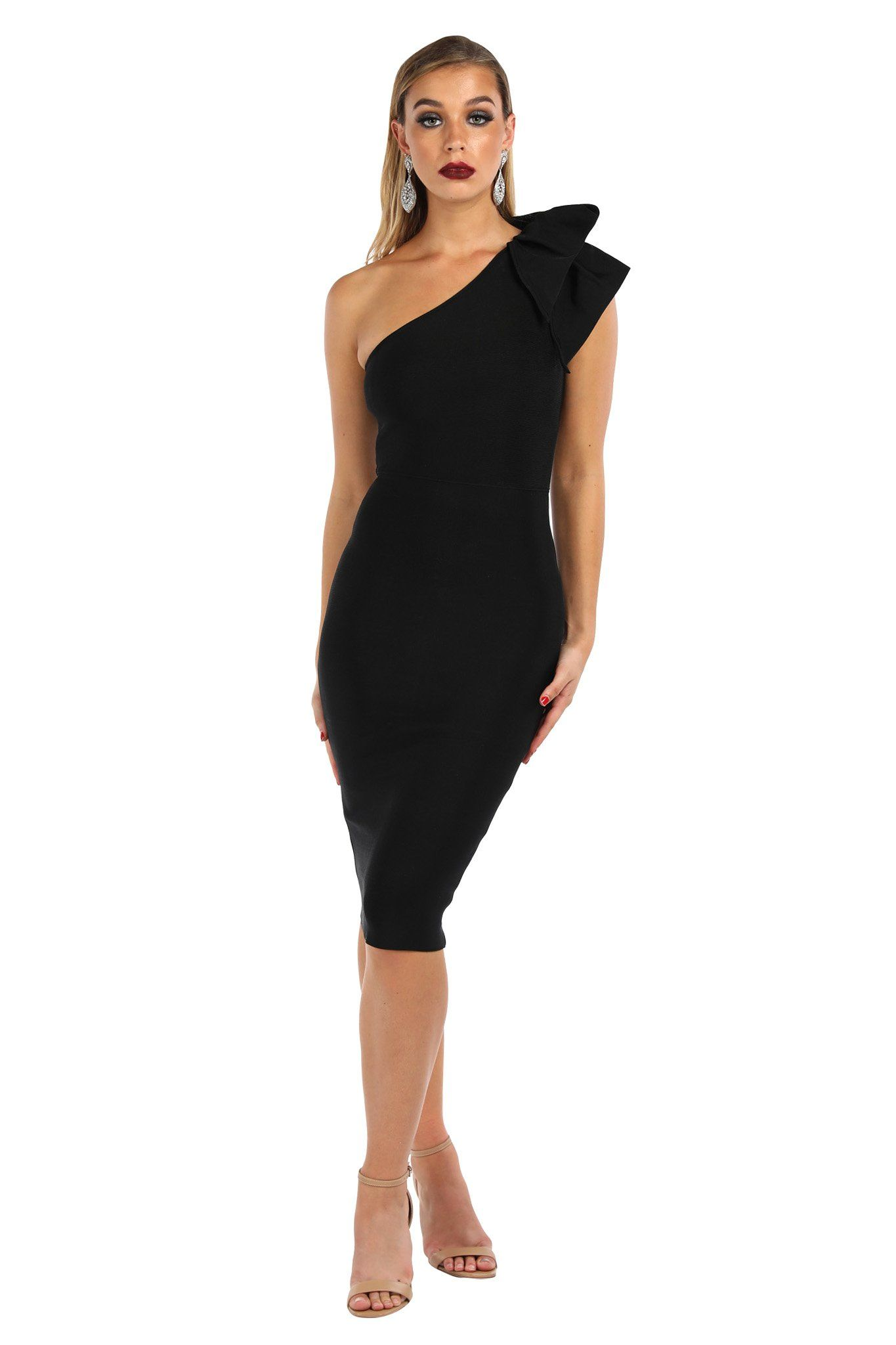 Black one-shoulder knee length tight fitted bandage dress with ruffle detail over one shoulder