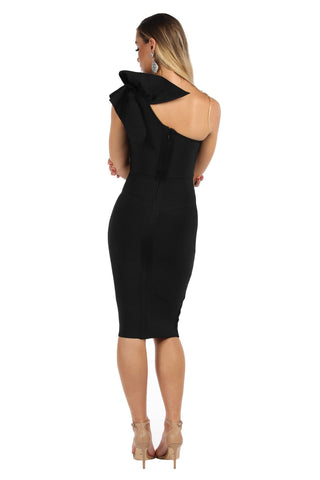 Freya One Shoulder Ruffle Dress - Black