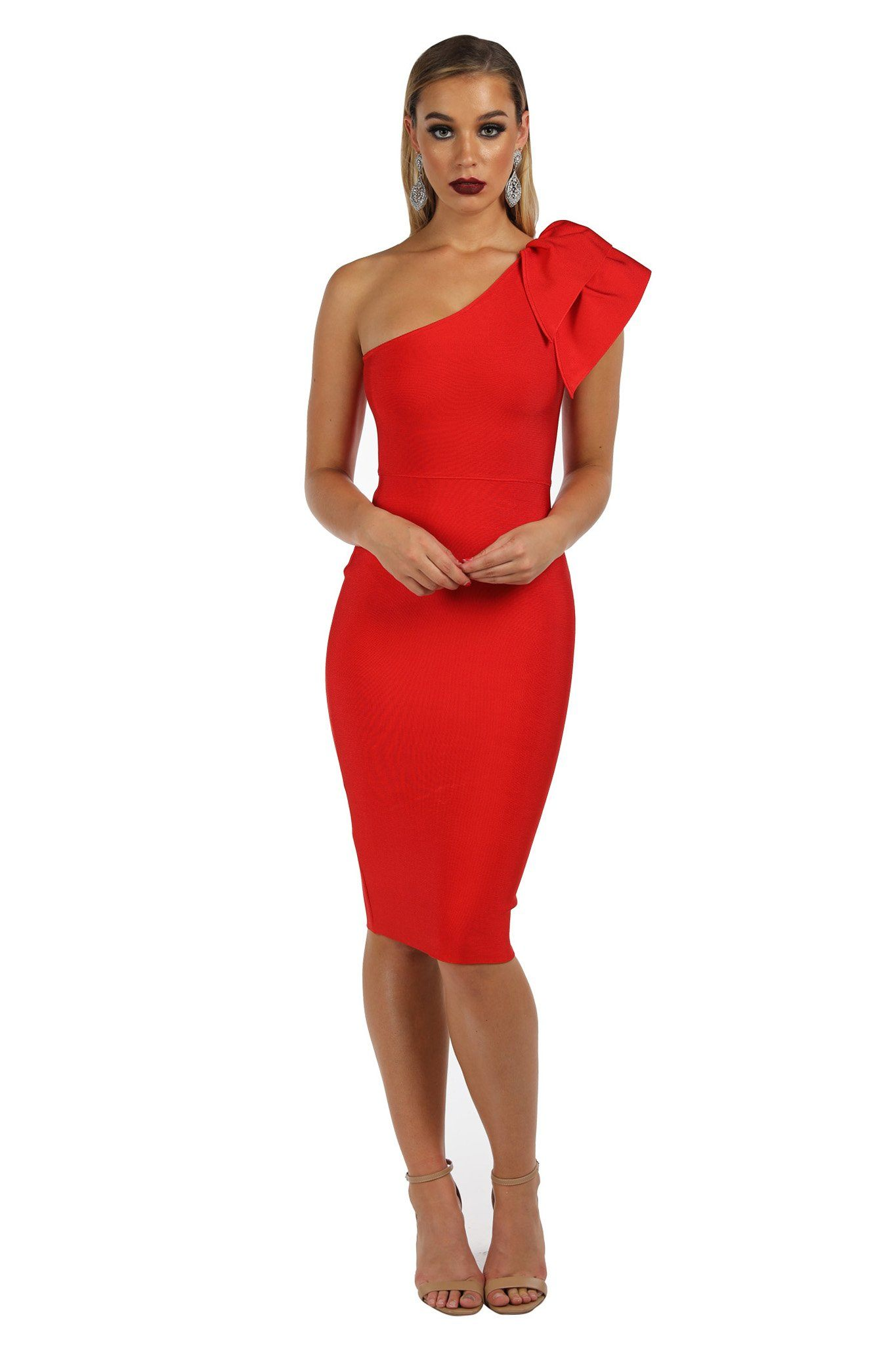 Red one-shoulder knee length tight fitted bandage dress with ruffle detail over one shoulder