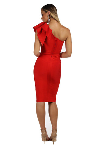 Freya One Shoulder Ruffle Dress - Red