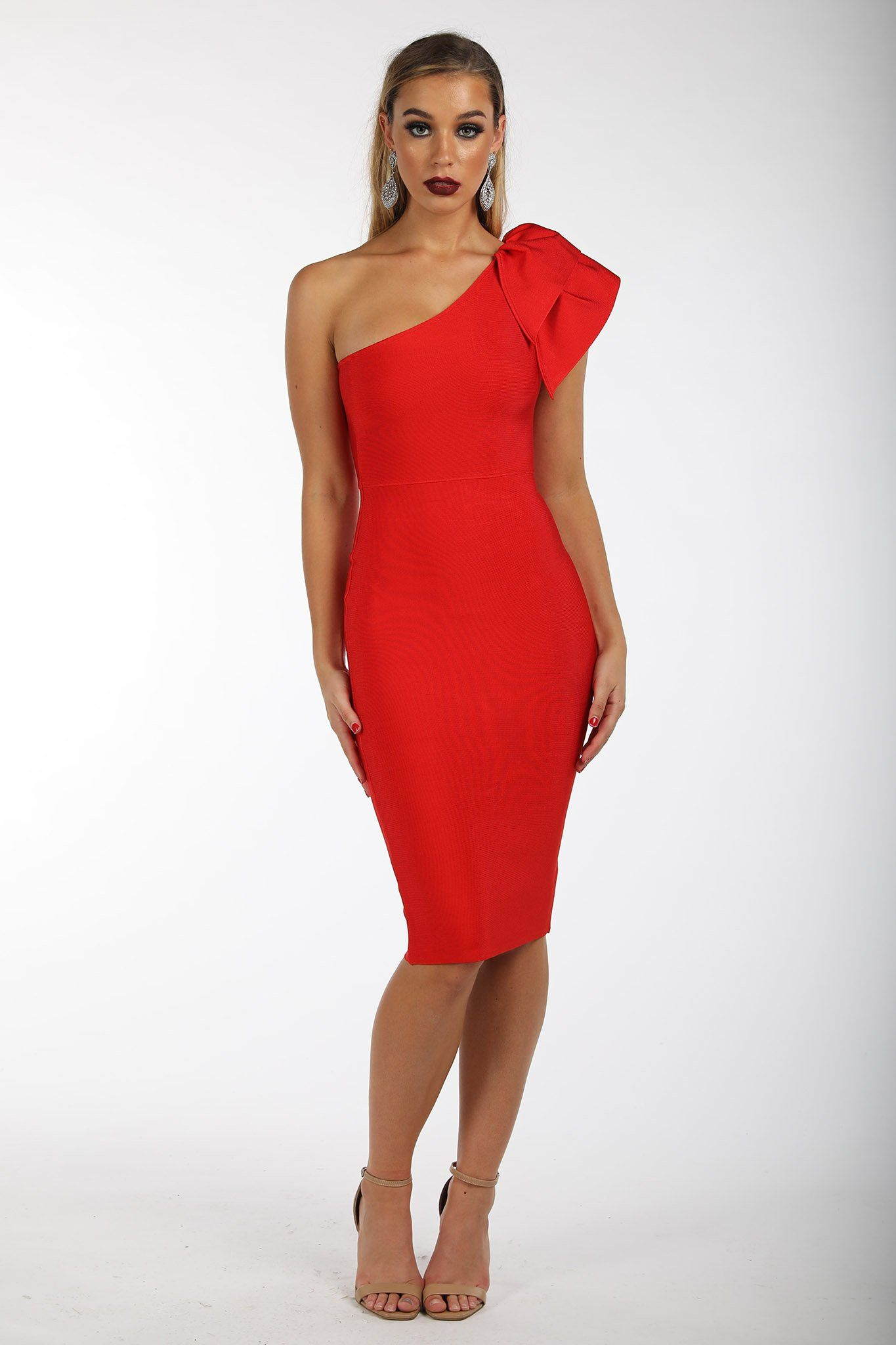 9565dbdd332c ... Red one-shoulder knee length tight fitted bandage dress with ruffle  detail over one shoulder