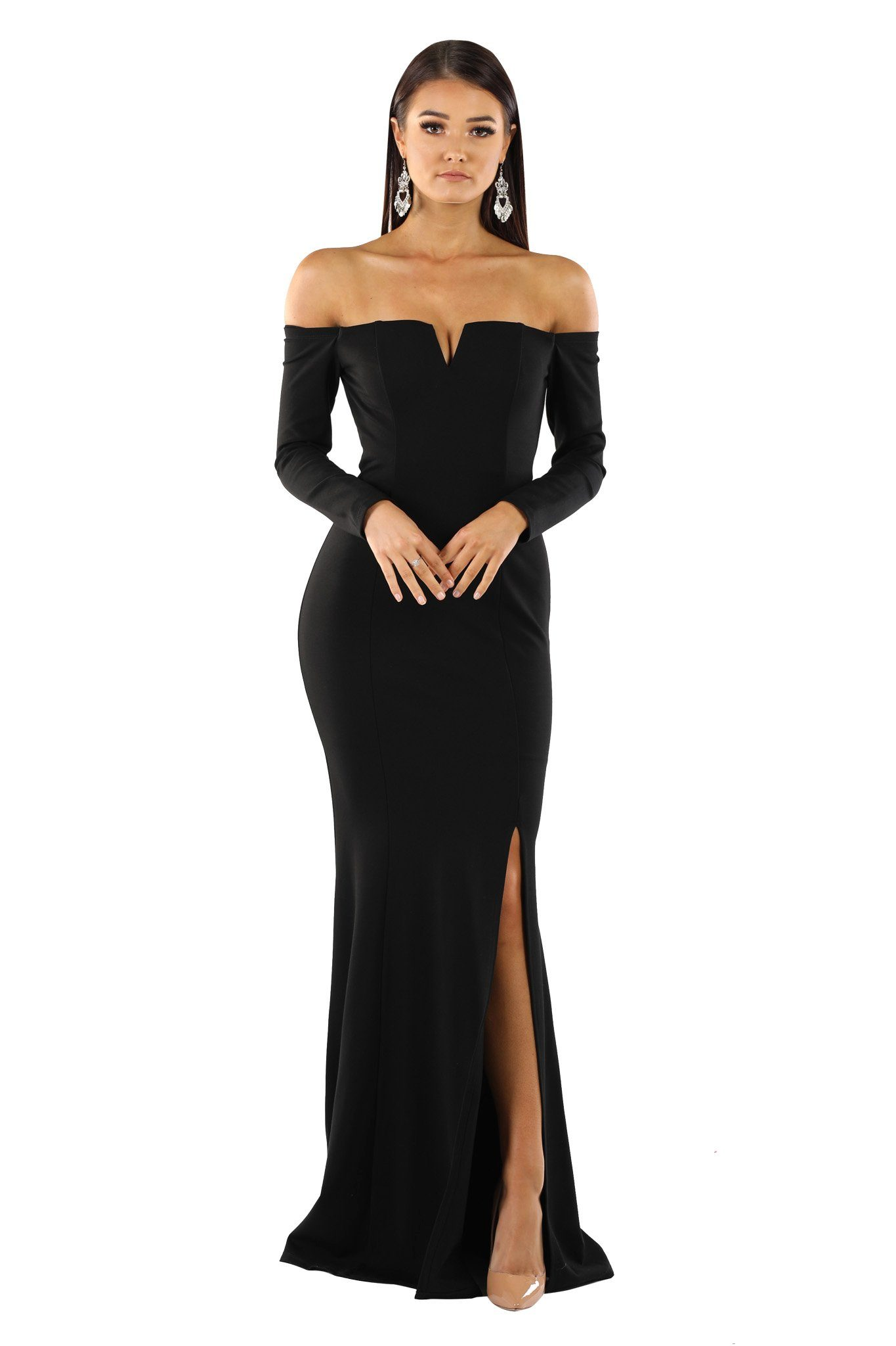 Black fitted long sleeve floor length evening gown with off-shoulder bodice, V-wired neckline, high slit and slightly flared skirt