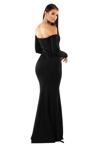 Gabriela Long Sleeve Gown - Black
