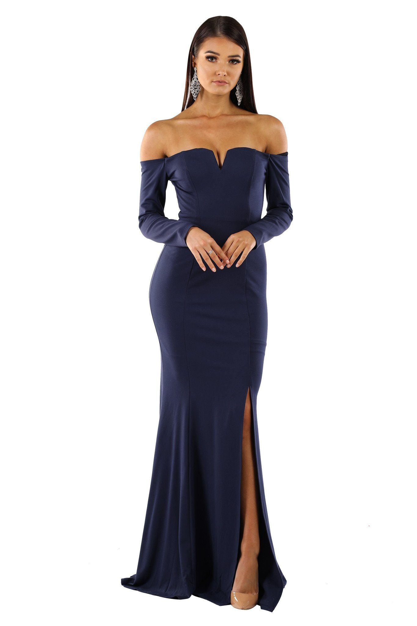 Navy fitted long sleeve floor length evening gown with off-shoulder bodice, V-wired neckline, high slit and slightly flared skirt