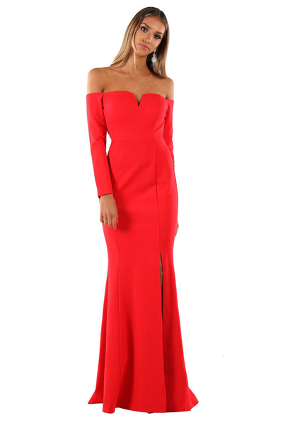 Gabriela Long Sleeve Gown - Red