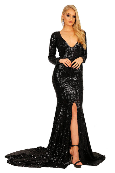 Georgia Long Sleeve Sequin Gown - Black