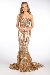 Gianna Strapless Pattern Sequin Gown - Gold