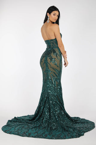 Gianna Strapless Pattern Sequin Gown - Emerald