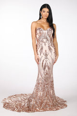 Rose Gold Embroidered Pattern Sequin with Light Pink Lining Floor Length Evening Dress with Strapless Sweetheart Neckline and Mermaid Skirt