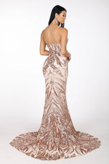 Gianna Strapless Pattern Sequin Gown - Rose Gold