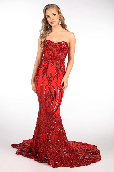 Gianna Strapless Pattern Sequin Gown - Red