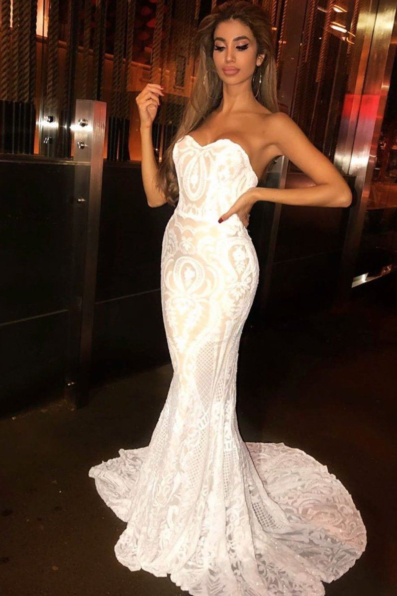 White Embroidered Pattern Sequin with Nude Lining Floor Length Evening Dress with Strapless Sweetheart Neckline and Mermaid Skirt