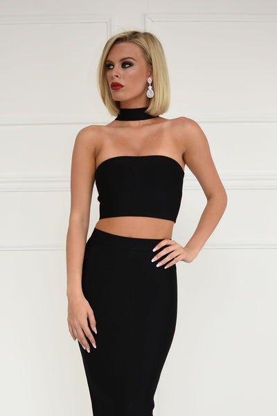 Gigi Choker Bandage Top - Black