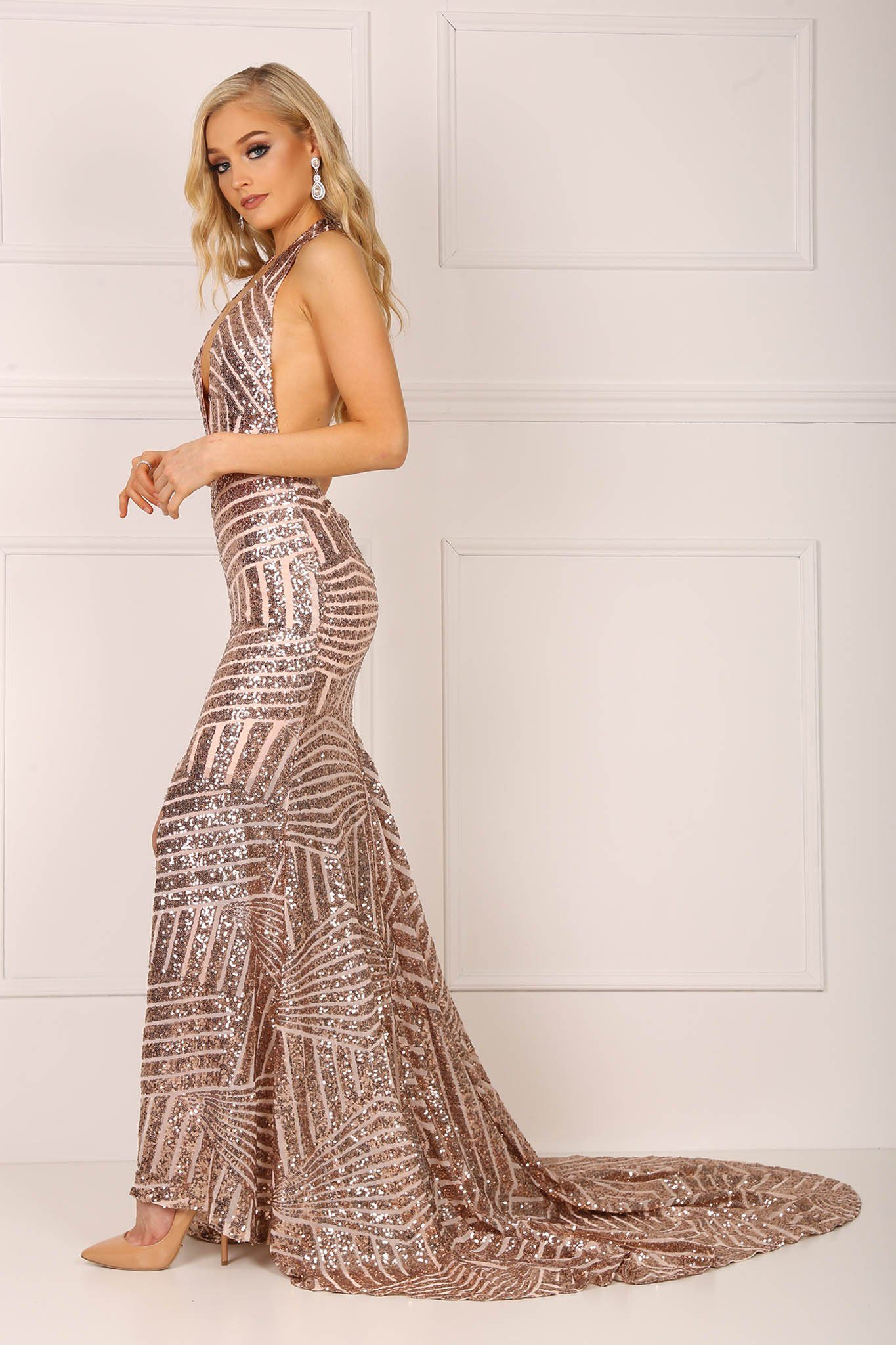 Goddess Sequins Gown - Rose Gold – Noodz Boutique