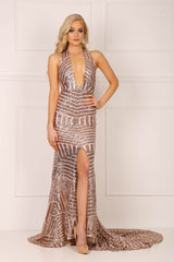 Rose gold sequin formal floor length sleeveless gown with front high split, V plunge neckline, halter neck, and a long train