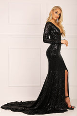 Black long sleeve sequin gown with V plunge neckline, center front slit and long train