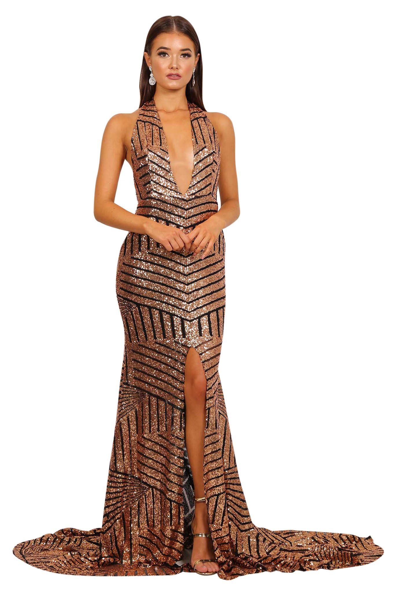 Gold sequins on black mesh formal gown with plunging halter-neck, V shape backless, high center front slit, and a very long train